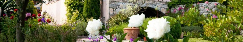 Jardin fleuri, terrasse et pergola.